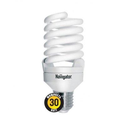 Лампа энергосберегающая Navigator 94 359 NCLP-SF-30-840-E27Спиральные<br>NCLP-SF – «Промо серия» энергосберегающих ламп, предназначенная для проведения промо-акций в розничных точках продаж. Также рекомендована к использованию для нужд жилищно-коммунального хозяйства: освещения подъездов и подвалов домов, складов, гаражей, хозяйственных помещений, для наружного освещения в закрытых светильниках. Колба лампы NCLP-SF представляет собой полную спираль, изготовленную из люминесцентной трубки диаметром 7 мм. Лампы NCLP-SF представлены в трех цветовых температурах: теплого белого света 2700 K, холодного белого света 4000 K и дневного белого – 6500 К.  Лампы NCLP-SF поставляются с двумя типоразмерами цоколя: Е14 и E27. Срок службы ламп NCLP-SF составляет 8000 часов. <br>7<br><br>Цветовая t, К: CW - холодный белый 4000 К<br>Тип лампы: Энергосберегающая<br>Тип цоколя: E27<br>Диаметр, мм мм: 54<br>Длина, мм: 126<br>MAX мощность ламп, Вт: 30