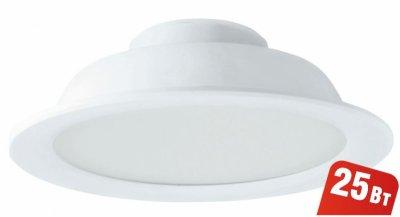 Светильник Navigator 94 838 NDL-P1-25W-840-WH-LEDКруглые LED<br>Встраиваемый светодиодный энергосберегающий светильник типа Downlight (направленного света) NDL-LED cоздает яркий направленный и равномерный свет, что делает его идеальным решением любых задач по освещению. Предназначен для освещения внутренних пространств в жилых, офисных и коммерческих помещениях. Степень защиты IP44 позволяет использовать светильник в помещениях с повышенной влажностью (в ванных комнатах, для подсветки кухонных рабочих поверхностей и проч.) В светодиодных светильниках NDL-LED применяется отражатель параболической формы, что обеспечивает направленное распределение света в угле 90°. В светодиодных светильниках NDL-LED применяются высокоэффективные планарные светодиоды Epistar, обеспечивающие эффективность до 80 лм/Вт. При этом коэффициент цветопередачи светильника обеспечивается на уровне Ragt 82. Срок службы 40 000 часов. Предоставляется гарантия 3 года.<br><br>Цветовая t, К: 4000<br>Тип лампы: LED-светодиодная<br>MAX мощность ламп, Вт: 25<br>Диаметр, мм мм: 221<br>Диаметр врезного отверстия, мм: 198-205<br>Высота, мм: 70<br>Цвет арматуры: белый