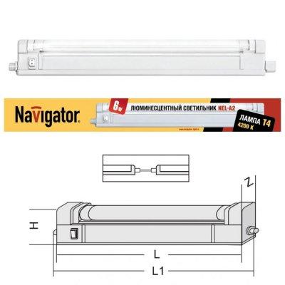 Светильник люминесцентный Navigator 94 509С лампой T4<br>Люминесцентные компактные светильники NEL-A2 предназначены для дополнительного освещения в жилых, офисных и коммерческих помещениях. Удобны для подсветки встроенных шкафов и гардеробных комнат, кухонных гарнитуров и зеркал в прихожих, а также витрин и прилавков в магазинах.    Корпус светильника NEL-A2 изготовлен из поликарбоната, оснащен металлическим отражателем, выполнен в белом цвете. Рассеиватель изготовлен из прозрачного рифленого акрила (полиметилметакрилат). Светильник предназначен для работы от сетевого напряжения 220 – 240 Вс частотой 50/60 Гц.    Материалы, из которых изготовлен светильник, не поддерживают горение. Диапазон рабочих температур окружающей среды светильника от 0°С до 45°С. Светильники серии NEL-A2 с закрытой лампой (с рассеивателем), встроенным ЭПРА и кнопкой включения/выключения на корпусе, комплектуются:• лампой люминесцентной Т4 (индекс цветопередачи Ra gt 82) • сетевым шнуром с вилкой • соединительным кабелем, с помощью которого можно подключить в единую цепь до 10 светильников • крепежом для присоединения светильника к вертикальной илигоризонтальной поверхности.<br><br>S освещ. до, м2: 3 - 4<br>Цветовая t, К: 4200<br>Тип лампы: люмин-я T4<br>Тип цоколя: G5<br>Цвет арматуры: белый<br>Количество ламп: 1<br>Ширина, мм: 22<br>Длина, мм: 396/419<br>Высота, мм: 41<br>MAX мощность ламп, Вт: 12