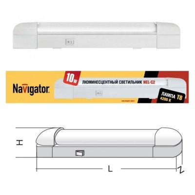 Светильник люминесцентный Navigator 94 519С лампой T8<br>Люминесцентные компактные светильники NEL-C2 предназначены для дополнительного освещения в жилых, офисных и коммерческих помещениях. Удобны для подсветки встроенных шкафов и гардеробных комнат, кухонных гарнитуров и зеркал в прихожих, а также витрин и прилавков в магазинах. Корпус светильника NEL-C2 изготовлен из облегченного алюминиевого сплава, выполнен в белом цвете. Рассеиватель изготовлен из прозрачного рифленого акрила (полиметилметакрилат).<br>  Светильник предназначен для работы от сетевого напряжения 220-240 В с частотой 50/60 Гц. Материалы, из которых изготовлен светильник, не поддерживают горение. Диапазон рабочих температур окружающей среды светильника 0°С - 60°С<br>  Светильники серии NEL-С2 для стационарного подключения, с закрытой лампой (с рассеивателем), встроенным ЭПРА и кнопкой включения/выключения на корпусе, комплектуется:• лампой люминесцентной Т8 • крепежом для присоединения к вертикальной или горизонтальной поверхности.<br><br>S освещ. до, м2: 2 - 4<br>Цветовая t, К: 4200<br>Тип лампы: люмин-я T8<br>Тип цоколя: G13<br>Количество ламп: 1<br>Ширина, мм: 34<br>MAX мощность ламп, Вт: 10<br>Длина, мм: 396<br>Высота, мм: 64<br>Цвет арматуры: белый