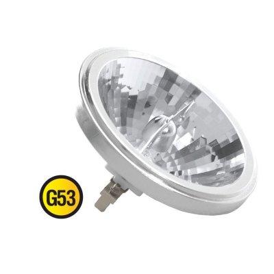 Лампа галогенная Navigator 94 231 AR111 50W G53 12V FL 2000hС цоколем g53 - 111мм<br>Navigator NH-AR111 галогенная лампа с алюминиевым рефлектором.<br>Предназначена для работы с использованием понижающего трансформатора при напряжении 12 вольт. Колба лампы изготовлена из прозрачного кварцевого стекла с добавками, экранирующими УФ-излучение.<br>Лампа AR111 имеет цоколь G53. Цветовая температура излучаемого света около 2900К. Угол излучения лампы NH-AR111 – 240, средний срок службы – 1500 часов.<br>Лампа NH-AR111 предназначена для использования в светильниках с шарнирным креплением лампы типа «кардан». Мощность светового потока позволяет организовывать акцентное освещение объектов в торговых залах, рестаранах, галереях, помещениях с высокими потолками и т.д.<br><br>Тип лампы: галогенная<br>Тип цоколя: G53<br>MAX мощность ламп, Вт: 50<br>Диаметр, мм мм: 111