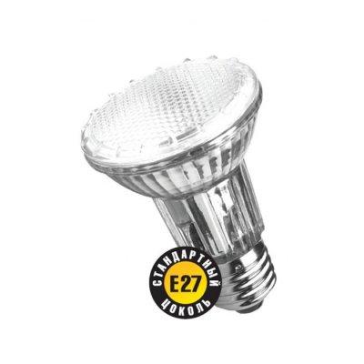 Лампа галогенная Navigator 94 228 PAR20 50W E27 230V 2000hС отражателем<br>Navigator NH-PAR20, NH-PAR30 - галогенные лампы с алюминиевым отражателем и защитным стеклом. Обеспечивают возможность эксплуатации от сетевого напряжения 220-240 вольт без использования понижающего трансформатора.  Колба лампы изготовлена из кварцевого стекла с добавками, экранирующими УФ-излучение. Защитное стекло обеспечивает безопасность эксплуатации лампы, предохраняя внутреннюю капсулу и отражатель от попадания пыли.  Лампа NH-PAR20 – с отражателем диаметром 64мм и цоколем Е27.  Лампа NH-PAR30 – с отражателем диаметром 95мм и цоколем Е27.  Цветовая температура излучаемого света около 3000К.  Средний срок службы – 2000 часов.<br><br>Тип лампы: галогенная<br>Тип цоколя: E27<br>MAX мощность ламп, Вт: 50<br>Диаметр, мм мм: 64