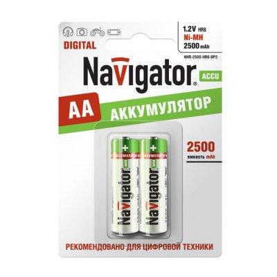 Аккумулятор AA Navigator 94 464 NHR-2500Mh (2шт)Аккумуляторные<br>Ni-MH аккумулятор Navigator - эффективный источник энергии многоразового действия. Аккумуляторы Navigator используются для накопления энергии и автономного питания различных устройств. Особенно, аккумуляторы Navigator эффективны в современных цифровых устройствах: MP3 плеер, радиоуправляемая игрушка, цифровой фотоаппарат, геймпад и т.д.<br>Основные характеристики аккумуляторов Navigator<br><br>Тип аккумулятора – Никель - Металлогидридный (Ni-MH),<br>Эффективный источник энергии,<br>Количество циклов заряд/разряд – 1000 ,<br>Диапазон рабочих температур от – 30?C до +40?C<br><br><br>Преимущества аккумуляторов Navigator<br><br>Реальная емкостьАккумуляторы Navigator строго соответствуют заявленной емкости<br>ЭффективностьАккумуляторы Navigator обладают высоким – порядка 90 % - Энергетическим и Емкостным КПД<br>Максимальная ЭНЕРГООТДАЧААккумулятор Navigator обладает низким внутренним сопротивлением (импедансом) – ?25 мОм, что обеспечивает неограниченный ток в нагрузку. В следствии чего, аккумулятор Navigator способен отдать всю накопленную в нем энергию в течение короткого промежутка времени<br>ЭкономичностьОдин Аккумулятор Navigator заменяет 1000 обычных батареек<br>ТехнологичностьАккумуляторы Navigator изготавливаются на высокотехнологичном производстве с использованием самых современных технологий<br>ДизайнАккумуляторы Navigator обладают лаконичным и ярким дизайном, что выгодно выделяет данный продукт на полке среди конкурентов<br>УпаковкаАккумуляторы Navigator обладают удобной и качественной упаковкой.<br><br>Тип товара: Аккумулятор