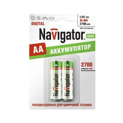 Аккумулятор AA Navigator 94 465 2700Mh (2шт)Аккумуляторные<br>Ni-MH аккумулятор Navigator - эффективный источник энергии многоразового действия. Аккумуляторы Navigator используются для накопления энергии и автономного питания различных устройств. Особенно, аккумуляторы Navigator эффективны в современных цифровых устройствах: MP3 плеер, радиоуправляемая игрушка, цифровой фотоаппарат, геймпад и т.д.<br>Основные характеристики аккумуляторов Navigator<br><br>Тип аккумулятора – Никель - Металлогидридный (Ni-MH),<br>Эффективный источник энергии,<br>Количество циклов заряд/разряд – 1000 ,<br>Диапазон рабочих температур от – 30<br>