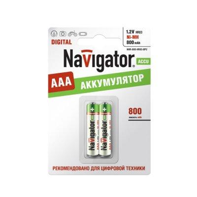 Аккумулятор AAA Navigator 94 461 NHR-800Mh (2шт)Аккумуляторные<br>Ni-MH аккумулятор Navigator - эффективный источник энергии многоразового действия. Аккумуляторы Navigator используются для накопления энергии и автономного питания различных устройств. Особенно, аккумуляторы Navigator эффективны в современных цифровых устройствах: MP3 плеер, радиоуправляемая игрушка, цифровой фотоаппарат, геймпад и т.д. <br><br><br><br>Тип аккумулятора – Никель - Металлогидридный (Ni-MH), <br>Эффективный источник энергии, <br>Количество циклов заряд/разряд – 1000 , <br>Диапазон рабочих температур от – 30bs000937828<br>
