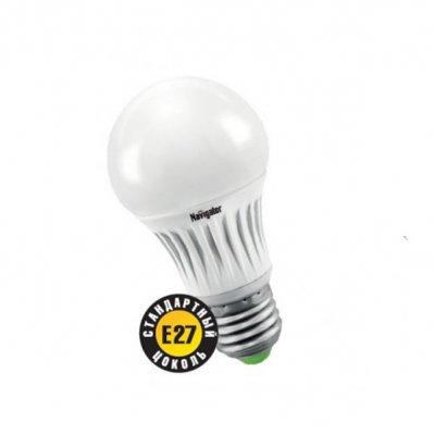 Светодиодная лампа Led Navigator 94 974 NLL-A55-5W-230-2.7K-E27Стандартный вид<br>Navigator NLL-A светодиодная энергосберегающая лампа общего освещения. Колба лампы грушевидная,  матовая. Лампа NLL-A повторяет форму и размеры стандартных КЛЛ и ламп накаливания типа «груша» и  идеально подходит к любому светильнику, в котором используются данные типы ламп.<br><br> В  светодиодных  лампах  серии  NLL-A60  применяются  высокоэффективные  планарные  светодиоды  Samsung,  обеспечивающие  эффективность  70  лм/Вт  для  ламп  теплой  цветности  и  78  лм/Вт  для  ламп  холодной цветности. При этом коэффициент цветопередачи ламп обеспечивается на уровне gt; 82 для теплой  цветности  и  gt; 75  для  холодной.   Ассортимент  светодиодных  ламп  серии NLL-  A  представлен  цветовыми  температурами излучаемого света – 3000 K и 4200 К.<br><br> Применение цилиндрического радиатора с увеличенной площадью рассеивания способствует снижению  температуры внутри лампы и как следствие увеличению срока службы лампы. Срок службы светодиодных рефлекторных ламп Navigator NLL  -A составляет 40 000 часов.<br><br>Цветовая t, К: WW - теплый белый 2700-3000 К<br>Тип лампы: LED - светодиодная<br>Тип цоколя: E27<br>MAX мощность ламп, Вт: 5<br>Диаметр, мм мм: 55<br>Длина, мм: 90<br>Цвет арматуры: алюминиевый радиатор