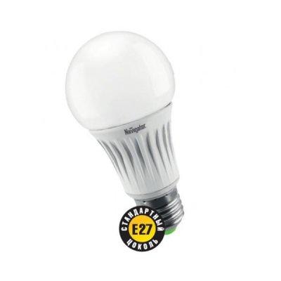 Светодиодная лампа Led Navigator 94 267 NLL-A55-8W-230-2.7K-E27Стандартный вид<br>Navigator NLL-A светодиодная энергосберегающая лампа общего освещения. Колба лампы грушевидная,  матовая. Лампа NLL-A повторяет форму и размеры стандартных КЛЛ и ламп накаливания типа «груша» и  идеально подходит к любому светильнику, в котором используются данные типы ламп.     В  светодиодных  лампах  серии  NLL-A60  применяются  высокоэффективные  планарные  светодиоды  Samsung,  обеспечивающие  эффективность  70  лм/Вт  для  ламп  теплой  цветности  и  78  лм/Вт  для  ламп  холодной цветности. При этом коэффициент цветопередачи ламп обеспечивается на уровне gt 82 для теплой  цветности  и  gt 75  для  холодной.   Ассортимент  светодиодных  ламп  серии NLL-  A  представлен  цветовыми  температурами излучаемого света – 3000 K и 4200 К.     Применение цилиндрического радиатора с увеличенной площадью рассеивания способствует снижению  температуры внутри лампы и как следствие увеличению срока службы лампы. Срок службы светодиодных рефлекторных ламп Navigator NLL  -A составляет 40 000 часов.<br><br>Цветовая t, К: WW - теплый белый 2700-3000 К<br>Тип лампы: LED - светодиодная<br>Тип цоколя: E27<br>MAX мощность ламп, Вт: 8<br>Диаметр, мм мм: 55<br>Длина, мм: 105<br>Цвет арматуры: алюминиевый радиатор