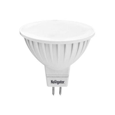 Светодиодная лампа Led Navigator 94 262 NLL-MR16-5W-12-3K-GU5.3 (12V)Зеркальные MR16 - 5.3<br>Светодиодная  лампа  (NLL)  –  это  инновационный,  высокотехнологичный, экологичный  источник  света,  где  светообразующим  элементом  является светодиод. Лампы NLL Navigator предназначены для прямой замены стандартных и  галогенных ламп накаливания, а так же компактных люминесцентных ламп в  тех  же  светильниках.  Преимущества  светодиодной  технологии  позволяют использовать  лампы  Navigator  в  широком  диапазоне  рабочих  температур от  –40°C  до  +40°C  в  самых  различных  сферах  применения:  интерьерная декоративная подсветка, общее, локальное, акцентное и аварийное освещение.<br>             Светодиодные  лампы  Navigator  поставляются  со  стандартными  резьбовыми цоколями E27 и E14, а так же со стандартными штырьковыми цоколями GU5.3, GU10 и GX53 и рассчитаны на напряжение 12 В AC/DC и 220 В 50/60 Гц. Лампа NLL Navigator является перспективным энергосберегающим источником света. Светодиодные  лампы  Navigator  имеют  световую  отдачу  в  7-9  раз  больше, чем  лампы  накаливания  аналогичной  мощности.  При  этом  срок  службы светодиодной лампы Navigator NLL в 40 раз больше, чем у лампы накаливания.<br><br>           Navigator  NLL  -MR16-3(5)  и  NLL-  PAR16-3(5)  свето  диодные энергосберегающие  лампы  с  матовым  рассеивателем.  Светодиодные лампы  повторяют  форму  и  размеры  стандартных  галогенных  ламп MR16  и  PAR16  и  идеально  подходят  к  любому  светильнику,  в  котором используются  данные  типы  ламп.  В  светодиодных  лампах  серий NLL-MR16-3(5)  и  NLL-PAR16-3(5)  применяются  планарные  светодиоды, что обеспечивает высокую надежность и эффективность источников света. Эффективность  светодиодных  ламп  серий  NLL-MR16-3  и  NLL-PAR16-3 составляет  70  лм/Вт  для  теплой  цветности  и  75  лм/Вт  для  холодной. <br>        В  светодиодных  лампах  серий  NLL-MR16-5  и  NLL-PAR16-5  применяются высокоэффективные  планарные  светодиоды  Samsu