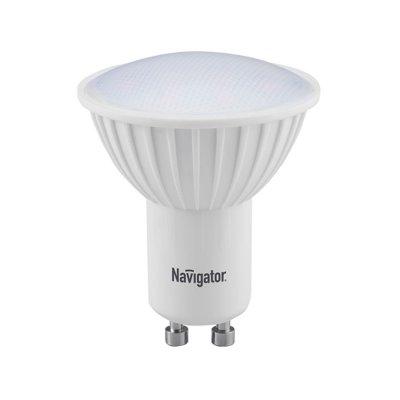 Светодиодная лампа Led Navigator 94 130 NLL-PAR16-5W-230-4.2K-GU10Зеркальные Gu10<br>Светодиодная  лампа  (NLL)  –  это  инновационный,  высокотехнологичный, экологичный  источник  света,  где  светообразующим  элементом  является светодиод. Лампы NLL Navigator предназначены для прямой замены стандартных и  галогенных ламп накаливания, а так же компактных люминесцентных ламп в  тех  же  светильниках.  Преимущества  светодиодной  технологии  позволяют использовать  лампы  Navigator  в  широком  диапазоне  рабочих  температур от  –40°C  до  +40°C  в  самых  различных  сферах  применения:  интерьерная декоративная подсветка, общее, локальное, акцентное и аварийное освещение.               Светодиодные  лампы  Navigator  поставляются  со  стандартными  резьбовыми цоколями E27 и E14, а так же со стандартными штырьковыми цоколями GU5.3, GU10 и GX53 и рассчитаны на напряжение 12 В AC/DC и 220 В 50/60 Гц. Лампа NLL Navigator является перспективным энергосберегающим источником света. Светодиодные  лампы  Navigator  имеют  световую  отдачу  в  7-9  раз  больше, чем  лампы  накаливания  аналогичной  мощности.  При  этом  срок  службы светодиодной лампы Navigator NLL в 40 раз больше, чем у лампы накаливания.               Navigator  NLL  -MR16-3(5)  и  NLL-  PAR16-3(5)  свето  диодные энергосберегающие  лампы  с  матовым  рассеивателем.  Светодиодные лампы  повторяют  форму  и  размеры  стандартных  галогенных  ламп MR16  и  PAR16  и  идеально  подходят  к  любому  светильнику,  в  котором используются  данные  типы  ламп.  В  светодиодных  лампах  серий NLL-MR16-3(5)  и  NLL-PAR16-3(5)  применяются  планарные  светодиоды, что обеспечивает высокую надежность и эффективность источников света. Эффективность  светодиодных  ламп  серий  NLL-MR16-3  и  NLL-PAR16-3 составляет  70  лм/Вт  для  теплой  цветности  и  75  лм/Вт  для  холодной.           В  светодиодных  лампах  серий  NLL-MR16-5  и  NLL-PAR16-5  применяются высокоэффективные  планарные  светодиоды  Samsung,  обеспечивающ