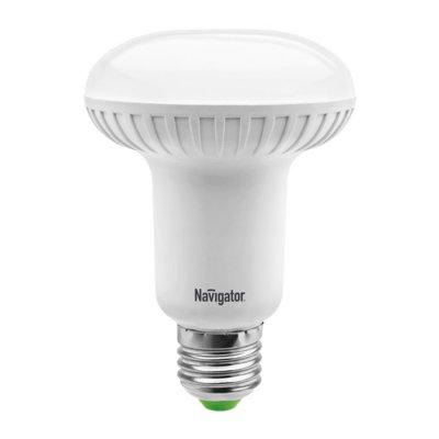 Светодиодная лампа Led Navigator 94 260 NLL-R63-8W-230-2.7K-E27Зеркальные E27, E14<br>Navigator  NLL  -R  светодиодная  энергосберегающая  рефлекторная  лампа  акцентного  освещения.  Матовая  поверхность  колбы  рефлектора  обеспечивает равномерную освещенность и защищает глаза от слепящего  света. Лампа NLL  -R повторяет форму и размеры стандартных рефлекторных  КЛЛ и ламп накаливания R39, R50 и R63 и идеально подходит к любому  светильнику, в котором используются данные типы ламп.  В светодиодных лампах серии NLL  -R применяются планарные светодиоды,  что  обеспечивает  высокую  надежность  и  эффективность  источников  света.             Эффективность  светодиодных  ламп  серии  NLL-  R39  составляет  70 лм/Вт. В светодиодных лампах серий NLL-R50 и NLL-R63 применяются  высокоэффективные  планарные  светодиоды  Samsung,  обеспечивающие  эффективность  70  лм/Вт  для  ламп  теплой  цветности  и  78  лм/Вт  для  ламп  холодной  цветности.  При  этом  коэффициент  цветопередачи  ламп  мощностью 5 и 8 Вт обеспечивается на уровне gt 82 для теплой цветности  и  gt 75  для  холодной.  Ассортимент  светодиодных  ламп  серии  NLL-  R  представлен цветовыми температурами излучаемого света – 3000 K и 4200 К. Применение  цилиндрического  радиатора  с  увеличенной  площадью  рассеивания  способствует  снижению  температуры  внутри  лампы  и  как  следствие увеличению срока службы лампы. Срок службы светодиодных рефлекторных ламп Navigator NLL  -R составляет  40 000 часов.<br><br>Цветовая t, К: WW - теплый белый 2700-3000 К<br>Тип лампы: LED - светодиодная<br>Тип цоколя: E27<br>Цвет арматуры: алюминиевый радиатор<br>Диаметр, мм мм: 63<br>Длина, мм: 106<br>MAX мощность ламп, Вт: 8