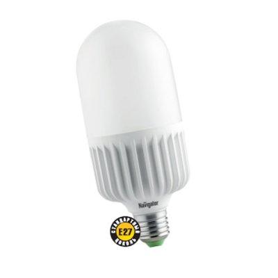 Светодиодная лампа Led Navigator 94 340 NLL-T105-50W-230-4K-E40Стандартный вид<br>Navigator NLL-T – светодиодная энергосберегающая лампа общего освещения. Колба лампы цилиндрическая, матовая. Лампа NLL-T обеспечивает высокий световой поток при малых габаритных размерах и может использоваться для замены высокомощных компактных люминесцентных ламп и стандартных лампа накаливания. <br><br><br>Высокоэффективные планарные светодиоды Osram, Ragt; 80 80 Лм/Вт<br>Цилиндрический радиатор, состоящий из композитного материала на основе алюминия и пластика, способствует более эффективному снижению температуры внутри лампы и, как следствие, увеличению срока ее службы<br>Специальная конструкция лампы обеспечивает угол рассеивания света в 270 градусов<br>Срок службы 40 000 часов<br><br>Цветовая t, К: CW - холодный белый 4000 К<br>Тип лампы: LED - светодиодная<br>Тип цоколя: E40<br>MAX мощность ламп, Вт: 50<br>Диаметр, мм мм: 105<br>Длина, мм: 250<br>Цвет арматуры: алюминиевый радиатор