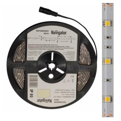 СД Лента Navigator 71 769 NLS-5050СW60-14.4-IP65-12V R5Лента 5050<br>Navigator NLS-5050 светодиодная лента, сконструированная на базе высокоэффективных планарных светодиодов Epistar в корпусе 5050. Лента выпускается на гибкой печатной плате белого цвета шириной 10 мм и поставляется в роллах по 5 м. Каждый ролл с лентой NLS -5050 -7.2 укомплектован проводом с разъемомом «джек». Эффективность светодиодной ленты белого света серии NLS-5050 составляет более 60 лм/ Вт. Ассортимент светодиодных лент Navigator NLS-5050 представлен мощностями 7.2 и 14.4 Вт на 1 метр. Диапазон рабочих температур окружающей среды от -25 до +60 ?С. СД лента NLS-5050 мощностью 7.2 Вт представлена в дневном белом 6000К, теплом белом 3000К, зеленом, синем, красном и желтом цветах. Лента мощностью 14.4 Вт в дневном белом 6000К, теплом белом 3000К цветах. Вся лента представлена с классами защиты от пыли и влаги IP20 и IP65. Срок службы светодиодной ленты NLS-5050 составляет 50 000 часов. Напряжение питания 12 В DC.<br><br>Тип товара: Светодиодная лента<br>Цветовая t, К: 6000<br>Тип лампы: LED - светодиодная<br>Количество ламп: 60LED/м<br>MAX мощность ламп, Вт: 14.4W/метр