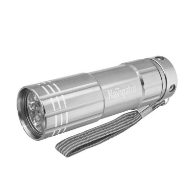 Фонарь Navigator 94 928 NPT-CM07-3АAAРучные<br>Надежные светодиодные металлические фонари. Яркие, долговечные и экономичные. Корпус из анодированного алюминия не подвержен коррозии. Срок службы светодиодов – до 100 000 часов. NPT-CM03 – светодиодный фонарь с 1 светодиодом мощностью 3 Вт и фокусировкой светового луча. Дальность освещения до 150 метров. Имеет три режима работы: два уровня яркости и мерцание. Индивидуальная упаковка – блистер с цветным вкладышем.<br><br>Количество ламп: 9 led<br>Диаметр, мм мм: 28.7<br>Длина, мм: 97