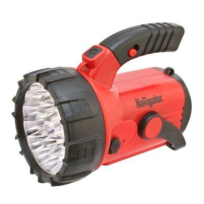 Фонарик кемпинговый Navigator 94 960 NPT-SP06-ACCUАккумуляторные<br>Многофункциональные светодиодные фонари с поворотной ручкой, подставкой и ремнем для переноски. Срок службы светодиодов – до 100 000 часов. Четыре режима работы: два уровня яркости прожектора (9 LED и 23 LED), 18 LED в плафоне, красный сигнальный маячок (аварийный сигнал) у модели NPT-SP06 и мерцание прожектора у NPT-SP07. В модели NPT-SP06-ACCU установлен свинцово-кислотный аккумулятор 4 В, 2 Ач. Подзарядка осуществляется от сети 220 В и бортовой сети автомобиля. Фонарь работает до 15 часов без подзарядки (в режиме прожектора 9 LED), при полностью заряженном аккумуляторе. Модель NPT-SP07-3D работает от 3 элементов питания типа D*. Индивидуальная упаковка – цветная глянцевая коробка.<br><br>Количество ламп: 23 Led + 18 Led + 4 Led<br>Ширина, мм: 153<br>Длина, мм: 196<br>Высота, мм: 160