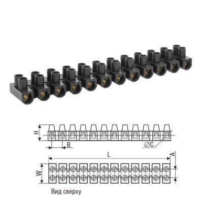 Клеммные колодки КЗВ Navigator 71 018 NTB-HPP-S12-80/BLКлеммные колодки<br>Клеммные колодки зажимные винтовые (КЗВ) Navigator серии NTB предназначены для электрического и механического соединения (винтовое соединение проводников) медных и алюминиевых проводников со специальной или без специальной подготовки сечением от 1,0 до 35 мм2 в цепях переменного и постоянного тока напряжением до 400 В. Защищают жилу провода от повреждения и исключают возможность замыкания на корпус электроустановки. <br>  Распространено применение для подключения к электричеству люстр и других световых приборов. Также применяются в распаячных коробках (для подключения выключателей, розеток и тд), в электрических щитках.<br> Колодки зажимные винтовые (КЗВ) изготавливаются в двух модификациях:• зажимы с корпусом из полиэтилена с диапазоном рабочих температур от -25 до +85 °С  данные зажимы пластичные белые (WH).• зажимы с корпусом из полистирола с диапазоном рабочих температур от -25 до +125 °С, данные зажимы негибкие черные (BL) .<br>  Для всех типов КЗВ максимальное рабочее напряжение (Ue) - 400 В, напряжение по изоляции (Ui) - 450 В.<br> Код продукта/Расшифровка кода - NTB-UPE-S12-3/WH<br>U/Н – тип колодкиPE – тип пластика колодкиS12 – стандартная колодка, 12 пар3 – допустимый длительный ток, ампер – 3АWH – цвет корпуса<br>