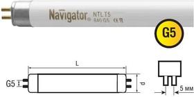 Лампа люминесцентная Navigator 94 120 NTL-T5-21-860-G5Люм. лампы т5<br>Navigator NTL-T5 – люминесцентная энергосберегающая лампа. Колба лампы – трубка диаметром 16мм покрыта изнутри трех полосным люминофором. Лампа NTL-T5 поставляется с цоколем G5, в двух цветовых температурах (4200K, 6400K), пяти мощностей от 6Вт до 28Вт.<br><br>Цветовая t, К: CW - дневной белый 6000 К<br>Тип лампы: люминесцентная<br>Тип цоколя: G5<br>MAX мощность ламп, Вт: 21<br>Диаметр, мм мм: 16<br>Длина, мм: 849<br>Оттенок (цвет): дневной белый свет