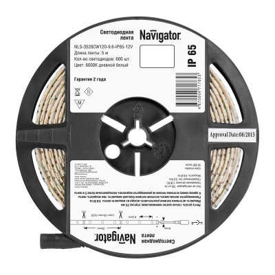 СД Лента Navigator 71 765 NLS-3528СW120-9.6-IP65-12V R5Лента 3528<br><br><br>Цветовая t, К: 6000<br>Тип лампы: LED<br>MAX мощность ламп, Вт: 9.6 Вт/м