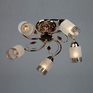 Omnilux Greco OML-36817-05 Люстрасовременные потолочные люстры модерн<br>Компания «Светодом» предлагает широкий ассортимент люстр от известных производителей. Представленные в нашем каталоге товары выполнены из современных материалов и обладают отличным качеством. Благодаря широкому ассортименту Вы сможете найти у нас люстру под любой интерьер. Мы предлагаем как классические варианты, так и современные модели, отличающиеся лаконичностью и простотой форм.  Стильная люстра Omnilux OML-36817-05 станет украшением любого дома. Эта модель от известного производителя не оставит равнодушным ценителей красивых и оригинальных предметов интерьера. Люстра Omnilux OML-36817-05 обеспечит равномерное распределение света по всей комнате. При выборе обратите внимание на характеристики, позволяющие приобрести наиболее подходящую модель. Купить понравившуюся люстру по доступной цене Вы можете в интернет-магазине «Светодом».<br><br>Установка на натяжной потолок: Да<br>S освещ. до, м2: 15<br>Крепление: Планка<br>Тип лампы: накал-я - энергосбер-я<br>Тип цоколя: E14<br>Цвет арматуры: золотой<br>Количество ламп: 5<br>Диаметр, мм мм: 500<br>Размеры: H 250 D 500<br>Высота, мм: 250<br>Оттенок (цвет): белый матированный с орнаментом<br>MAX мощность ламп, Вт: 60