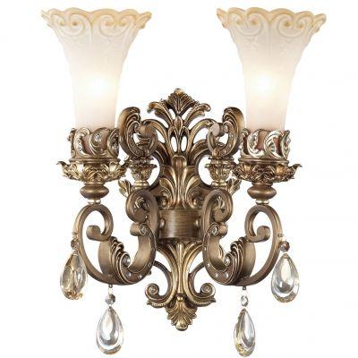 Светильник Odeon light 2431/2WРустика<br><br><br>S освещ. до, м2: 8<br>Крепление: настенное<br>Тип товара: Светильник настенный бра<br>Тип лампы: накаливания / энергосбережения / LED-светодиодная<br>Тип цоколя: E14<br>Количество ламп: 2<br>MAX мощность ламп, Вт: 60<br>Диаметр, мм мм: 380<br>Высота, мм: 420<br>Оттенок (цвет): бежевый<br>Цвет арматуры: бронзовый