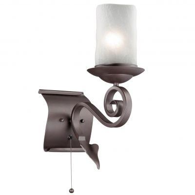 Светильник Odeon light 2438/1WКованые<br><br><br>S освещ. до, м2: 4<br>Крепление: настенное<br>Тип лампы: накаливания / энергосбережения / LED-светодиодная<br>Тип цоколя: E27<br>Количество ламп: 1<br>Ширина, мм: 150<br>MAX мощность ламп, Вт: 60<br>Расстояние от стены, мм: 270<br>Высота, мм: 380<br>Оттенок (цвет): белый<br>Цвет арматуры: коричневый