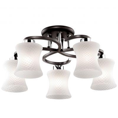 Люстра Odeon light 2439/5CПотолочные<br>Стиль модерн в освещении прекрасно подойдёт для ценителей лаконичной эстетики. Предлагаем Вам по достоинству оценить потолочную люстру Odeon light 2439/5C, исполненную итальянскими мастерами в соответствующем формате. Основание конструкции наполнено благородным оттенком «венге» и представлено в плавных округлых изгибах, симметрично дополняющих друг друга. Элегантные плафоны люстры Odeon light 2439/5C исполнены в мягко изогнутой форме, а также украшены аккуратным ромбовидным узором по всей поверхности белоснежного стекла. Интерьер наполнится обволакивающим ярким светом в современном обрамлении. Потолочная люстра Odeon light 2439/35C – актуальный презент для близких и себя любимых!<br><br>Установка на натяжной потолок: Да<br>S освещ. до, м2: 13<br>Крепление: Планка<br>Тип лампы: накаливания / энергосбережения / LED-светодиодная<br>Тип цоколя: E27<br>Количество ламп: 5<br>MAX мощность ламп, Вт: 60<br>Диаметр, мм мм: 550<br>Высота, мм: 450<br>Оттенок (цвет): белый<br>Цвет арматуры: черный