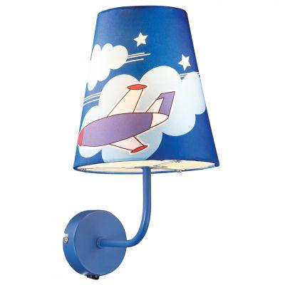 Светильник бра самолетик Odeon light 2440/1WДля детской<br><br><br>S освещ. до, м2: 4<br>Крепление: настенное<br>Тип лампы: накаливания / энергосбережения / LED-светодиодная<br>Тип цоколя: E27<br>Количество ламп: 1<br>Ширина, мм: 170<br>MAX мощность ламп, Вт: 60<br>Расстояние от стены, мм: 210<br>Высота, мм: 310<br>Оттенок (цвет): синий<br>Цвет арматуры: синий