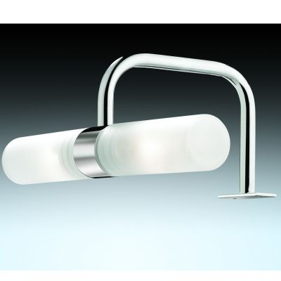 Светильник Odeon light 2445/2Для картин/зеркал<br><br><br>S освещ. до, м2: 6<br>Тип лампы: галогенная / LED-светодиодная<br>Тип цоколя: G9<br>Количество ламп: 2<br>Ширина, мм: 205<br>MAX мощность ламп, Вт: 40<br>Расстояние от стены, мм: 125<br>Высота, мм: 80<br>Оттенок (цвет): белый<br>Цвет арматуры: серебристый