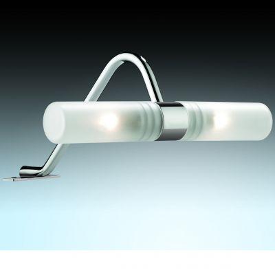 Светильник Odeon light 2448/2Для картин/зеркал<br><br><br>S освещ. до, м2: 5<br>Крепление: настенное<br>Тип лампы: галогенная / LED-светодиодная<br>Тип цоколя: G9<br>Количество ламп: 2<br>Ширина, мм: 205<br>MAX мощность ламп, Вт: 40<br>Расстояние от стены, мм: 213<br>Высота, мм: 105<br>Оттенок (цвет): белый<br>Цвет арматуры: серебристый