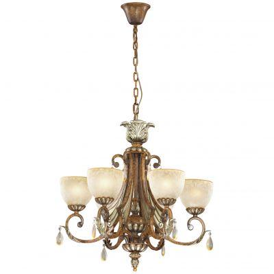 Люстра Odeon light 2455/6Подвесные<br><br><br>Установка на натяжной потолок: Да<br>S освещ. до, м2: 16<br>Крепление: Крюк<br>Тип товара: Люстра подвесная<br>Тип лампы: накаливания / энергосбережения / LED-светодиодная<br>Тип цоколя: E27<br>Количество ламп: 6<br>MAX мощность ламп, Вт: 60<br>Диаметр, мм мм: 680<br>Высота, мм: 670<br>Оттенок (цвет): бежевый<br>Цвет арматуры: коричневый