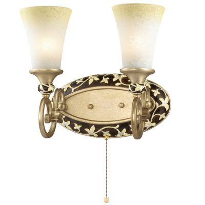 Светильник Odeon light 2456/2WКлассические<br><br><br>S освещ. до, м2: 8<br>Крепление: настенное<br>Тип лампы: накаливания / энергосбережения / LED-светодиодная<br>Тип цоколя: E27<br>Количество ламп: 2<br>Ширина, мм: 400<br>MAX мощность ламп, Вт: 60<br>Высота, мм: 360<br>Оттенок (цвет): бежевый<br>Цвет арматуры: коричневый