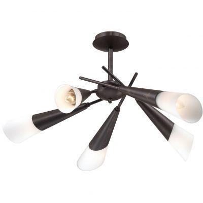 Люстра Odeon light 2464/5CПотолочные<br><br><br>Установка на натяжной потолок: Да<br>S освещ. до, м2: 13<br>Крепление: Планка<br>Тип товара: Люстра<br>Тип лампы: накаливания / энергосбережения / LED-светодиодная<br>Тип цоколя: E14<br>Количество ламп: 5<br>MAX мощность ламп, Вт: 40<br>Диаметр, мм мм: 660<br>Высота, мм: 340<br>Оттенок (цвет): белый<br>Цвет арматуры: коричневый