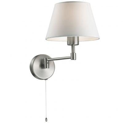 Светильник Odeon light 2480/1WМодерн<br><br><br>S освещ. до, м2: 2<br>Крепление: настенное<br>Тип товара: Светильник настенный бра<br>Тип лампы: накаливания / энергосбережения / LED-светодиодная<br>Тип цоколя: E14<br>Количество ламп: 1<br>Ширина, мм: 180<br>MAX мощность ламп, Вт: 40<br>Расстояние от стены, мм: 220<br>Высота, мм: 280<br>Оттенок (цвет): белый<br>Цвет арматуры: серый