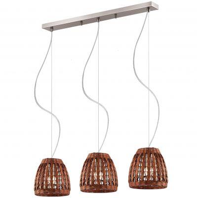 Люстра Odeon light 2491/3Из ротанга и eco<br><br><br>Установка на натяжной потолок: Да<br>S освещ. до, м2: 12<br>Крепление: Планка<br>Тип товара: Люстра<br>Тип лампы: накаливания / энергосбережения / LED-светодиодная<br>Тип цоколя: E27<br>Количество ламп: 3<br>Ширина, мм: 820<br>MAX мощность ламп, Вт: 60<br>Высота, мм: 900<br>Оттенок (цвет): коричневый<br>Цвет арматуры: серый