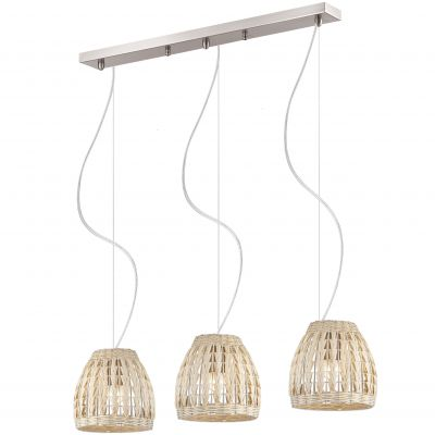 Люстра Odeon light 2492/3Из ротанга и eco<br><br><br>Установка на натяжной потолок: Да<br>S освещ. до, м2: 12<br>Крепление: Планка<br>Тип товара: Люстра<br>Тип лампы: накаливания / энергосбережения / LED-светодиодная<br>Тип цоколя: E27<br>Количество ламп: 3<br>Ширина, мм: 820<br>MAX мощность ламп, Вт: 60<br>Высота, мм: 900<br>Оттенок (цвет): бежевый<br>Цвет арматуры: серый