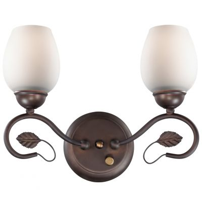Светильник Odeon light 2500/2WФлористика<br><br><br>S освещ. до, м2: 8<br>Крепление: настенное<br>Тип лампы: накаливания / энергосбережения / LED-светодиодная<br>Тип цоколя: E27<br>Цвет арматуры: коричневый<br>Количество ламп: 2<br>Ширина, мм: 320<br>Высота, мм: 240<br>Оттенок (цвет): белый<br>MAX мощность ламп, Вт: 60