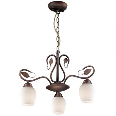 Люстра Odeon light 2500/3Подвесные<br><br><br>Установка на натяжной потолок: Да<br>S освещ. до, м2: 8<br>Крепление: Планка<br>Тип товара: Люстра подвесная<br>Тип лампы: накаливания / энергосбережения / LED-светодиодная<br>Тип цоколя: E27<br>Количество ламп: 3<br>MAX мощность ламп, Вт: 60<br>Диаметр, мм мм: 520<br>Высота, мм: 800<br>Оттенок (цвет): белый<br>Цвет арматуры: коричневый