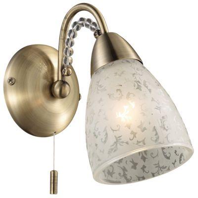 Светильник Odeon light 2541/1WКлассические<br><br><br>S освещ. до, м2: 2<br>Крепление: настенное<br>Тип лампы: накаливания / энергосбережения / LED-светодиодная<br>Тип цоколя: E14<br>Количество ламп: 1<br>Ширина, мм: 100<br>MAX мощность ламп, Вт: 40<br>Высота, мм: 180<br>Оттенок (цвет): белый<br>Цвет арматуры: бронзовый