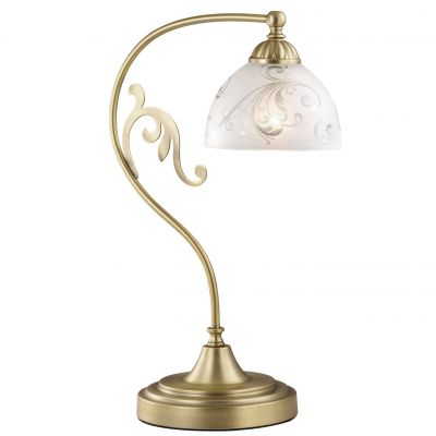 Настольная лампа Odeon light 2563/1TКлассические<br>Изысканные изгибы в силуэте поклона итальянской настольной лампы Odeon light – это приятное украшение Вашего интерьера. Здесь сочетаются благородство линий и узоров бронзового сияния, белоснежный тон и мягкость форм. Представьте такую роскошь на стеклянной поверхности, где будет слегка отражаться силуэт светового поклона, или же на столике из натурального дерева коричневого или бежевого тона. Классика в итальянском исполнении – это атмосфера шарма и гармонии!<br><br>S освещ. до, м2: 4<br>Тип лампы: накал-я - энергосбер-я<br>Тип цоколя: E27<br>Цвет арматуры: бронзовый<br>Количество ламп: 1<br>Диаметр, мм мм: 210<br>Высота, мм: 315<br>Оттенок (цвет): белый<br>MAX мощность ламп, Вт: 60