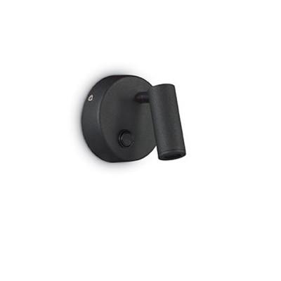 Ideal Lux PAGE AP1 ROUND NERO Настенный светильникХай-тек<br><br><br>Тип лампы: LED<br>Тип цоколя: LED<br>Ширина, мм: 90<br>Расстояние от стены, мм: 130<br>Высота, мм: 90<br>MAX мощность ламп, Вт: 3