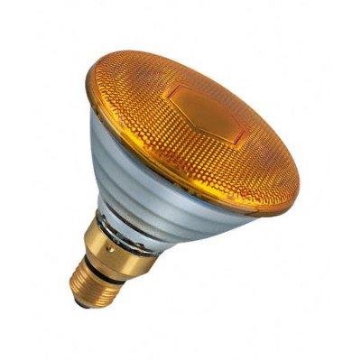Лампа зеркальная PAR38 Philips 80W желтаяЗеркальные<br><br><br>Тип товара: лампа освещения<br>Тип лампы: накаливания<br>Тип цоколя: E27<br>MAX мощность ламп, Вт: 80<br>Диаметр, мм мм: 122,5<br>Высота, мм: 137<br>Оттенок (цвет): Желтый