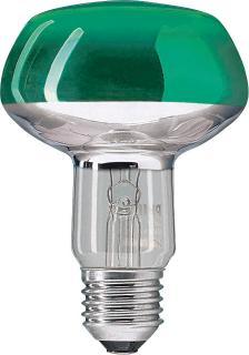 Лампа зеркальная R80 Philips 60W E27 зеленаяЗеркальные<br><br><br>Тип товара: лампа освещения<br>Тип лампы: накаливания<br>Тип цоколя: E27<br>MAX мощность ламп, Вт: 60<br>Диаметр, мм мм: 80<br>Высота, мм: 116<br>Оттенок (цвет): Зеленый