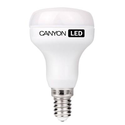 Светодиодная лампа CANYON R50E14FR6W230VWЗеркальные E27, E14<br><br><br>Рекомендуемые колбы ламп: R50<br>Тип товара: LED - светодиодная<br>Цветовая t, К: 2700<br>Тип лампы: LED - светодиодная<br>Тип цоколя: E14<br>MAX мощность ламп, Вт: 6<br>Диаметр, мм мм: 50<br>Длина, мм: 86<br>Общая мощность, Вт: эквивалент лампы накаливания 40 Ватт