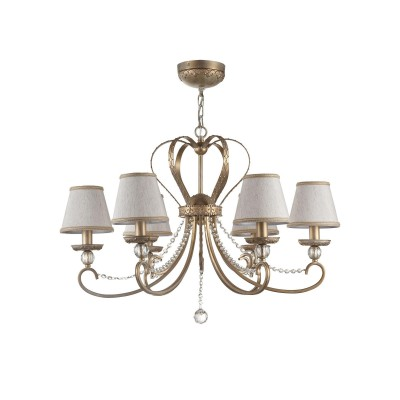 Люстра Maytoni RC144-PL-06-WG LivornoПодвесные<br><br><br>S освещ. до, м2: 12<br>Тип лампы: накаливания / энергосбережения / LED-светодиодная<br>Тип цоколя: E14<br>Цвет арматуры: Кремовое золотой<br>Количество ламп: 6