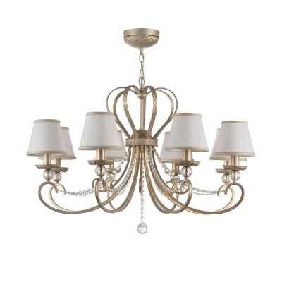 Люстра Maytoni RC144-PL-08-WG LivornoПодвесные<br><br><br>S освещ. до, м2: 16<br>Тип лампы: накаливания / энергосбережения / LED-светодиодная<br>Тип цоколя: E14<br>Цвет арматуры: Кремовое золотой<br>Количество ламп: 8