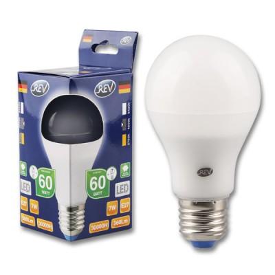 Лампа светодиодная REV 32265 8 LED A60 Е27 7W 600Лм, 4000K, холодный светСтандартный вид<br>В интернет-магазине «Светодом» можно купить не только люстры и светильники, но и лампочки. В нашем каталоге представлены светодиодные, галогенные, энергосберегающие модели и лампы накаливания. В ассортименте имеются изделия разной мощности, поэтому у нас Вы сможете приобрести все необходимое для освещения.   Лампа REV 32265 8 LED A60 Е27 7W 600Лм, 4000K, холодный свет обеспечит отличное качество освещения. При покупке ознакомьтесь с параметрами в разделе «Характеристики», чтобы не ошибиться в выборе. Там же указано, для каких осветительных приборов Вы можете использовать лампу REV 32265 8 LED A60 Е27 7W 600Лм, 4000K, холодный светREV 32265 8 LED A60 Е27 7W 600Лм, 4000K, холодный свет.   Для оформления покупки воспользуйтесь «Корзиной». При наличии вопросов Вы можете позвонить нашим менеджерам по одному из контактных номеров. Мы доставляем заказы в Москву, Екатеринбург и другие города России.<br><br>Цветовая t, К: CW - холодный белый 4000 К<br>Тип лампы: LED - светодиодная<br>Тип цоколя: E27<br>MAX мощность ламп, Вт: 7