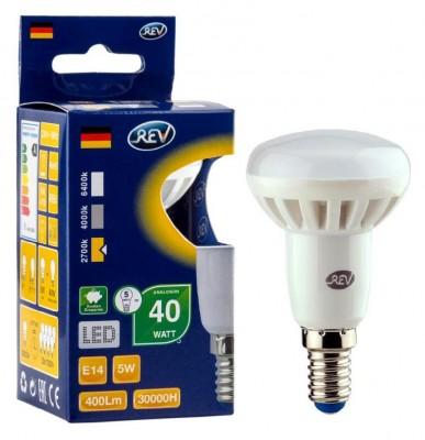Лампа светодиодная REV 32332 7 LED R50 Е14 5W 420Лм, 2700K, теплый светЗеркальные E27, E14<br>В интернет-магазине «Светодом» можно купить не только люстры и светильники, но и лампочки. В нашем каталоге представлены светодиодные, галогенные, энергосберегающие модели и лампы накаливания. В ассортименте имеются изделия разной мощности, поэтому у нас Вы сможете приобрести все необходимое для освещения.   Лампа REV 32332 7 LED R50 Е14 5W 420Лм, 2700K, теплый свет обеспечит отличное качество освещения. При покупке ознакомьтесь с параметрами в разделе «Характеристики», чтобы не ошибиться в выборе. Там же указано, для каких осветительных приборов Вы можете использовать лампу REV 32332 7 LED R50 Е14 5W 420Лм, 2700K, теплый светREV 32332 7 LED R50 Е14 5W 420Лм, 2700K, теплый свет.   Для оформления покупки воспользуйтесь «Корзиной». При наличии вопросов Вы можете позвонить нашим менеджерам по одному из контактных номеров. Мы доставляем заказы в Москву, Екатеринбург и другие города России.<br><br>Цветовая t, К: WW - теплый белый 2700-3000 К<br>Тип лампы: LED - светодиодная<br>Тип цоколя: E14<br>MAX мощность ламп, Вт: 5