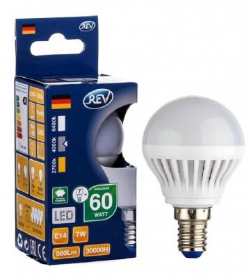 Лампа светодиодная REV 32341 9 LED G45 Е14 7W 600Лм, 4000K, холодный светВ виде шарика<br>В интернет-магазине «Светодом» можно купить не только люстры и светильники, но и лампочки. В нашем каталоге представлены светодиодные, галогенные, энергосберегающие модели и лампы накаливания. В ассортименте имеются изделия разной мощности, поэтому у нас Вы сможете приобрести все необходимое для освещения.   Лампа REV 32341 9 LED G45 Е14 7W 600Лм, 4000K, холодный свет обеспечит отличное качество освещения. При покупке ознакомьтесь с параметрами в разделе «Характеристики», чтобы не ошибиться в выборе. Там же указано, для каких осветительных приборов Вы можете использовать лампу REV 32341 9 LED G45 Е14 7W 600Лм, 4000K, холодный светREV 32341 9 LED G45 Е14 7W 600Лм, 4000K, холодный свет.   Для оформления покупки воспользуйтесь «Корзиной». При наличии вопросов Вы можете позвонить нашим менеджерам по одному из контактных номеров. Мы доставляем заказы в Москву, Екатеринбург и другие города России.<br><br>Цветовая t, К: CW - холодный белый 4000 К<br>Тип лампы: LED - светодиодная<br>Тип цоколя: E14<br>MAX мощность ламп, Вт: 7