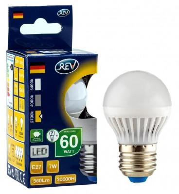 Лампа светодиодная REV 32343 3 LED G45 Е27 7W 600Лм, 4000K, холодный светВ виде шарика<br>В интернет-магазине «Светодом» можно купить не только люстры и светильники, но и лампочки. В нашем каталоге представлены светодиодные, галогенные, энергосберегающие модели и лампы накаливания. В ассортименте имеются изделия разной мощности, поэтому у нас Вы сможете приобрести все необходимое для освещения.   Лампа REV 32343 3 LED G45 Е27 7W 600Лм, 4000K, холодный свет обеспечит отличное качество освещения. При покупке ознакомьтесь с параметрами в разделе «Характеристики», чтобы не ошибиться в выборе. Там же указано, для каких осветительных приборов Вы можете использовать лампу REV 32343 3 LED G45 Е27 7W 600Лм, 4000K, холодный светREV 32343 3 LED G45 Е27 7W 600Лм, 4000K, холодный свет.   Для оформления покупки воспользуйтесь «Корзиной». При наличии вопросов Вы можете позвонить нашим менеджерам по одному из контактных номеров. Мы доставляем заказы в Москву, Екатеринбург и другие города России.<br><br>Цветовая t, К: CW - холодный белый 4000 К<br>Тип лампы: LED - светодиодная<br>Тип цоколя: E27<br>MAX мощность ламп, Вт: 7
