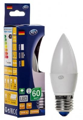 Лампа светодиодная REV 32348 8 LED C37 Е27 7W 600Лм, 4000K, холодный свет, свечаВ виде свечи<br>В интернет-магазине «Светодом» можно купить не только люстры и светильники, но и лампочки. В нашем каталоге представлены светодиодные, галогенные, энергосберегающие модели и лампы накаливания. В ассортименте имеются изделия разной мощности, поэтому у нас Вы сможете приобрести все необходимое для освещения.   Лампа REV 32348 8 LED C37 Е27 7W 600Лм, 4000K, холодный свет, свеча обеспечит отличное качество освещения. При покупке ознакомьтесь с параметрами в разделе «Характеристики», чтобы не ошибиться в выборе. Там же указано, для каких осветительных приборов Вы можете использовать лампу REV 32348 8 LED C37 Е27 7W 600Лм, 4000K, холодный свет, свечаREV 32348 8 LED C37 Е27 7W 600Лм, 4000K, холодный свет, свеча.   Для оформления покупки воспользуйтесь «Корзиной». При наличии вопросов Вы можете позвонить нашим менеджерам по одному из контактных номеров. Мы доставляем заказы в Москву, Екатеринбург и другие города России.<br><br>Цветовая t, К: CW - холодный белый 4000 К<br>Тип лампы: LED - светодиодная<br>Тип цоколя: E27<br>MAX мощность ламп, Вт: 7