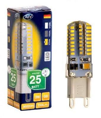 Лампа светодиодная REV 32367 9 LED JCD G9 3W 250Лм, 2700K, теплый светКапсульные G9 220v<br>В интернет-магазине «Светодом» можно купить не только люстры и светильники, но и лампочки. В нашем каталоге представлены светодиодные, галогенные, энергосберегающие модели и лампы накаливания. В ассортименте имеются изделия разной мощности, поэтому у нас Вы сможете приобрести все необходимое для освещения.   Лампа REV 32367 9 LED JCD G9 3W 250Лм, 2700K, теплый свет обеспечит отличное качество освещения. При покупке ознакомьтесь с параметрами в разделе «Характеристики», чтобы не ошибиться в выборе. Там же указано, для каких осветительных приборов Вы можете использовать лампу REV 32367 9 LED JCD G9 3W 250Лм, 2700K, теплый светREV 32367 9 LED JCD G9 3W 250Лм, 2700K, теплый свет.   Для оформления покупки воспользуйтесь «Корзиной». При наличии вопросов Вы можете позвонить нашим менеджерам по одному из контактных номеров. Мы доставляем заказы в Москву, Екатеринбург и другие города России.<br><br>Цветовая t, К: WW - теплый белый 2700-3000 К<br>Тип лампы: LED - светодиодная<br>Тип цоколя: G9<br>MAX мощность ламп, Вт: 3